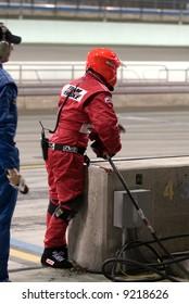 Penske Racing Pitt Crew Member Ready for Pitt stop