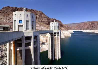 """Penstock Towers at Hoover Dam, showing """"Nevada Time"""""""
