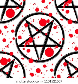 Pentagram seamless pattern, brush drawing magic occult star symbol with red blood drops. Background illustration in black over white.