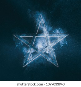 Pentagram symbol. Abstract night sky background.