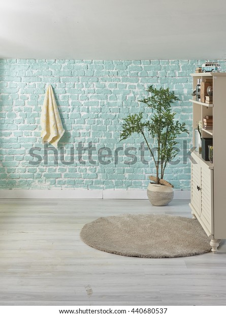 Penthouse turquoise wall towel flowerpot with cabinet interior decoration
