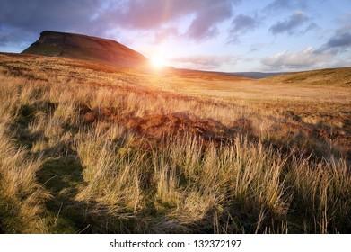Pen-y-Ghent Yorkshire Dales National Park Autumn sunset evening