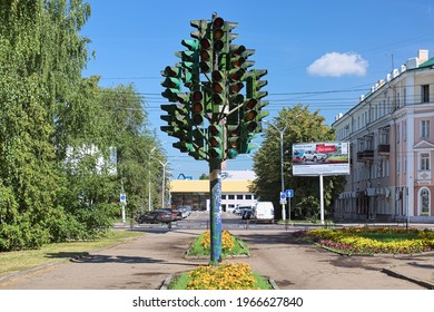 PENZA, RUSSIA - AUGUST 15, 2018: Traffic Light Tree. It was made of 36 old traffic lights and installed on January 13, 2011 by wish of city's mayor.