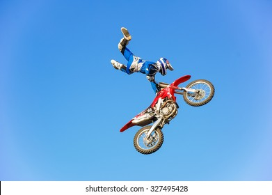 PENZA, RUSSIA - JUNE 18, 2011: Unidentified rider giving a free style motorcross acrobatics demonstration as part of motorshow Night Of The Jumps