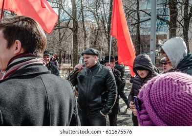 PENZA, RUSSIA - MARCH 26, 2017:  Opposition meeting. The citizens of Penza won't just sit back as their country crumbles around them, they rally for change