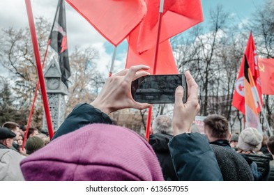 PENZA, RUSSIA - MARCH 26, 2017:  Opposition rally. Citizens of Penza find new hope in political leader Alexei Navalny