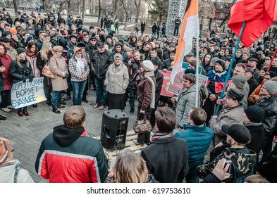 PENZA, RUSSIA - MARCH 26, 2017:  Anti-corruption protest in Russia. Passion has been ignited in the hearts of people as they gather to oppose corruption in government