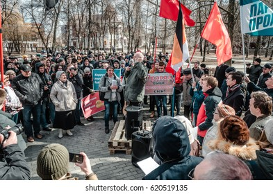 PENZA, RUSSIA - MARCH 26, 2017:  Anti-corruption protest in Russia. Numbers are growing as crowds of people gather in opposition of corrupt government.