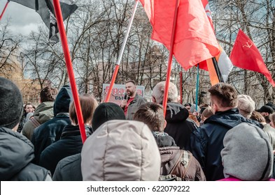 PENZA, RUSSIA - MARCH 26, 2017:  People protest in Penza, Russia, agains the corrupt government