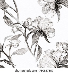Peonies - flowers and leaves. Decorative composition on the background of watercolor paper.  Seamless pattern. Use printed materials, signs, items, websites, maps, posters, postcards, packaging.