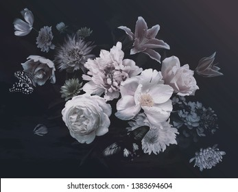Peonies, hydrangea, lily, asters and tulips in bloom. Vintage bouquet of beautiful garden flowers and butterflies on black. Floristic decoration. Floral background. Baroque style.