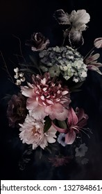 Peonies, hydrangea, lily, iris and tulips in bloom. Vintage bouquet of beautiful garden flowers on black. Floristic decoration. Floral background. Baroque style.