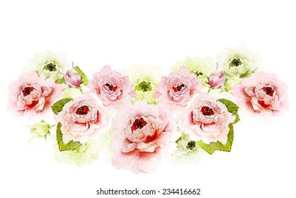 Peonies pink ang green