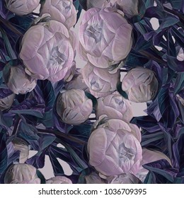 Peonies. Seamless background. Flowers. Stylization: watercolor.