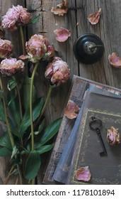 peony & books on table