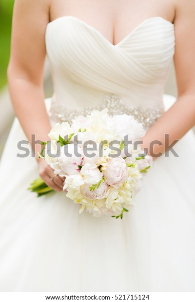 Peony Bouquet Corset Wedding Dress Stock Photo Edit Now 521715124