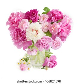 Peony, chamomile and rose flowers bunch isolated on white background