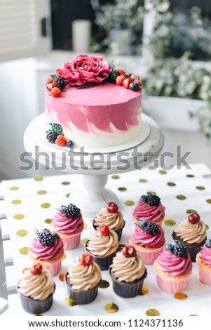 Peony Flower Pink Birthday Cake And Blackberry Cherry Cupcakes
