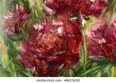 Peony flowering shrub, modern paintings, oil on canvas, expressive art picture, abstract landscape, contemporary art, Russian art