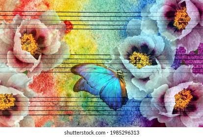 peony flowers and blue morpho butterfly on an old sheet of notes in colorful watercolor paint. musical concept. abstract colorful watercolor background.
