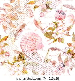 Peony flowers, cherry blossom, feathers. Vintage text letters with handwritten notes, watercolor feathers and flower. Seamless floral pattern