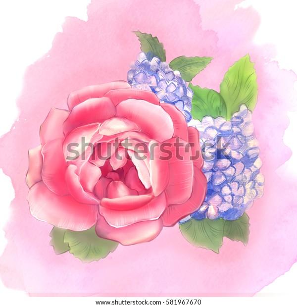 Peony and hydrangea. Watercolor. Set No. 7