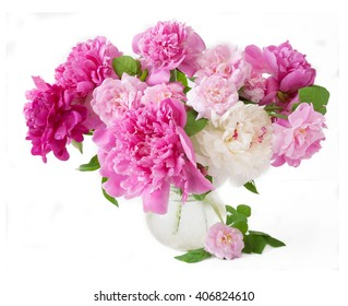 Peony and rose flowers bunch isolated on white background