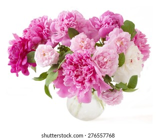 Peony and roses bunch isolated on white  background