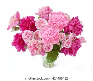 Peony and roses bunch in vase isolated on white background