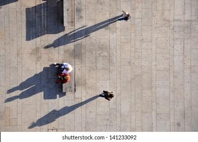 People from above, taken from Porto bridge, Porto, Portugal