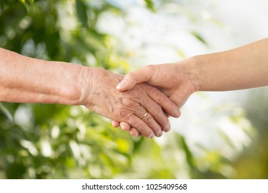 people, age, family and support concept - close up of senior woman and young woman holding hands over green natural background