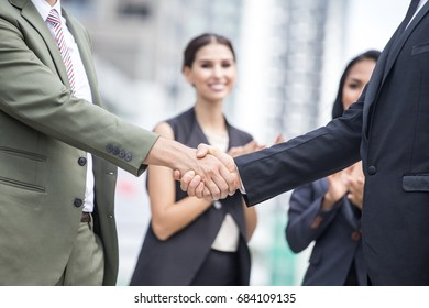 People with agreement for working together with team. Business handshake and business people conce. Business team handshake concept.