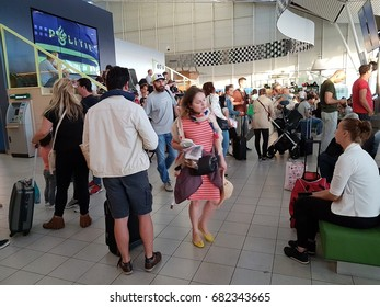 people at the airport during summer holidays, Schiphol Amsterdam Airport Netherlands July 2017