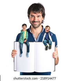 People around book over white background