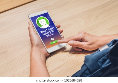 People ask chat bot function in mobile app .looking for customer support online shopping shopping. digital marketing concept,artificial intelligence (ai) system