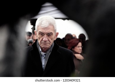 People attend a ceremony at the Holocaust Memorial commemorating the persecution of the Jewish people during World War II in Thessaloniki, Greece on Jan 27, 2013
