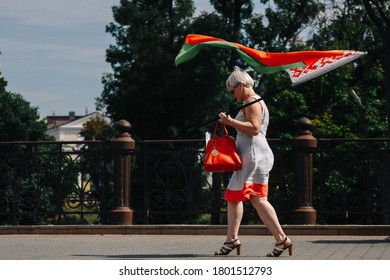 People attend a rally in support of Alexander Lukashenko, Grodno, Belarus August 22, 2020