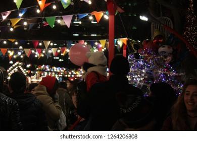 People in Baku streets in New Year Eve Baku, Azerbaijan - 20 December 2018