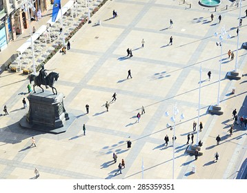 People at Ban Jelacic Square in Zagreb , Croatia