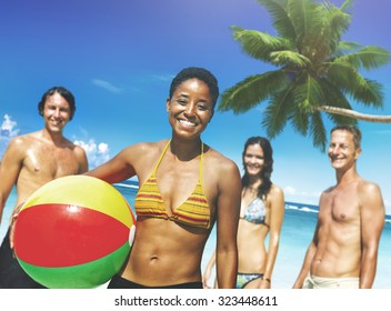 People Beach Holiday Summer Ball Vacation Concept
