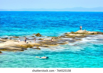People at the beach illustration digital watercolor painting / Sithonia, Greece