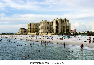 People at the beach in September 4, 2017 in Clearwater Beach, Florida.