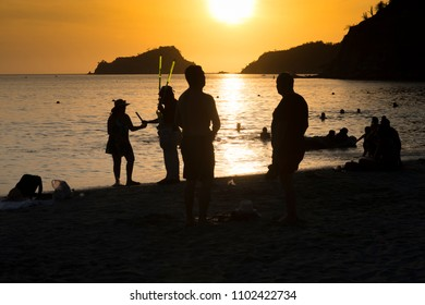 People at the beach Sunset at Santa Marta Colombia
