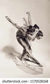 People, beauty, art. Old fashioned image of dancing woman on white feather