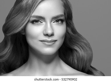 People Beauty. Woman Beautiful portrait cosmetic concept face closeup black and white