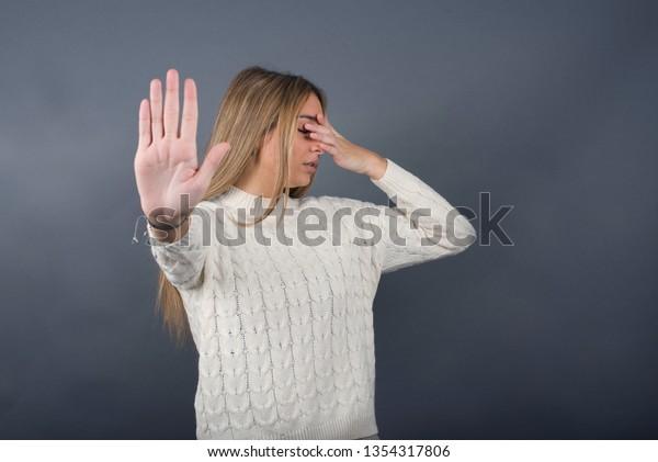 People Body Language Young European Blue Stock Photo (Edit