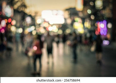 People in bokeh, Crowd of people in Bang La Road during night life, Phuket, Thailand