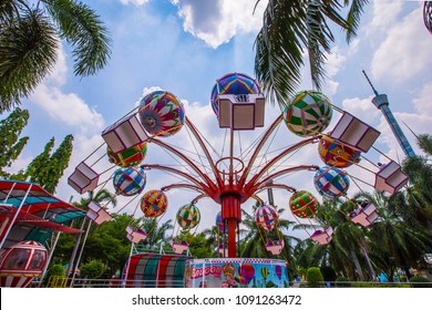 People bring their families to relax in the large water park and other facilities at Siam park located Bangkok,Thailand on May 13 2018