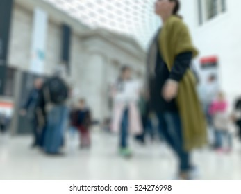 people in British Museum in London. blurred background