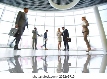 People in business center